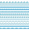 Seamless Blue Marine Horizontal Waves Set vector image