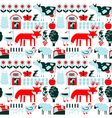 Seamless pattern with farm and animals vector image