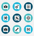 Set of 9 editable tool icons includes symbols vector image