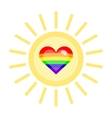 LGBT heart in a sun vector image