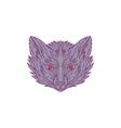 Fox Head Mono Line vector image vector image
