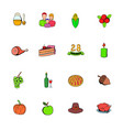 thanksgiving day set icons set cartoon vector image