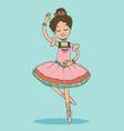 beautiful brunette ballerina girl dancing vector image
