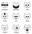 Flat line icons with different faces modern style vector image
