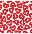 Red lips prints background with woman lipstick vector image
