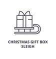 christmas gift box sleigh line icon outline sign vector image