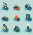dj color isometric icons vector image