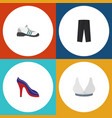 flat icon garment set of brasserie heeled shoe vector image