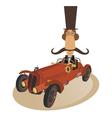 Gentleman rides a retro car vector image
