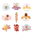 Icecream badges ribbons food sticky chocolate vector image