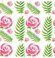 seamless design with pink roses and green leaves vector image