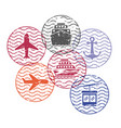 ship and airplane and cableway travel circular vector image