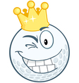 Smiling Golf Ball With Gold Crown Winking vector image