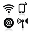 Wifi network internet zone icons set vector image