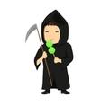 Cute cartoon kid in halloween costume vector image