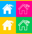 home silhouette with tag four styles of icon on vector image