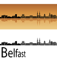 Belfast skyline in orange background vector image vector image