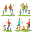 happy family hiking travelling children with vector image