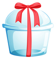An empty cupcake container with a red ribbon vector image