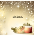 Christmas background with gift Xmas box with bow vector image