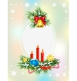 Spruce branches with candles candy and golden vector image