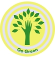 green tree with hand and leaves vector image