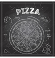 Pizza with shrimp scetch on a black board vector image