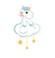 cartoon unicorn sitting on the cloud cartoon vector image