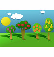 cut out paper orchard vector image