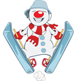 Cute snowball Skiing Cartoon vector image