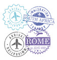immigration and arrival travel circular stamps of vector image