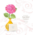 invitation card with lovely flower in vase for vector image