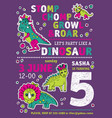 invitation dinosaurs girl party birthday vector image