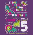 invitation dinosaurs girl party birthday vector image