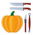 Pumpkin sculpture tools flat halloween icon vector image