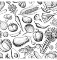 vegetable seamless pattern hand drawn vintage vector image