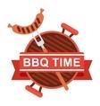 bbq logo grill pan fork vector image