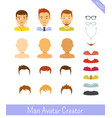 man avatar creator and male avatars vector image vector image