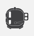 black icon on white background astronaut helmet vector image vector image