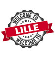 lille round ribbon seal vector image