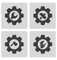 black tools in gear icons set vector image