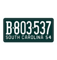 South Carolina 1954 license plate vector image