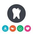 Broken tooth sign icon Dental care symbol vector image