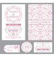 Wedding invitation setPink decorgrey swirls vector image