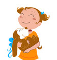 happy girl with a dog vector image