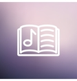 Musical book thin line icon vector image
