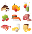 set of 9 highly detailed food icons vector image