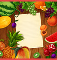 fruits with blank paper on wooden background vector image