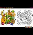 cartoon fruits coloring page vector image vector image