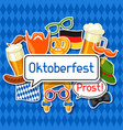 oktoberfest card with photo booth stickers design vector image vector image